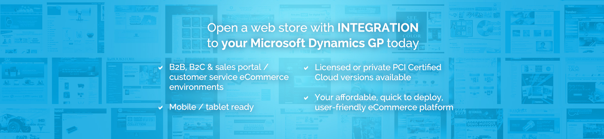 Open a web store with an integration to your Dynamics GP